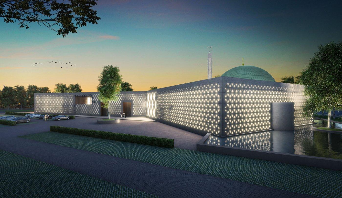 avond beeld moskee