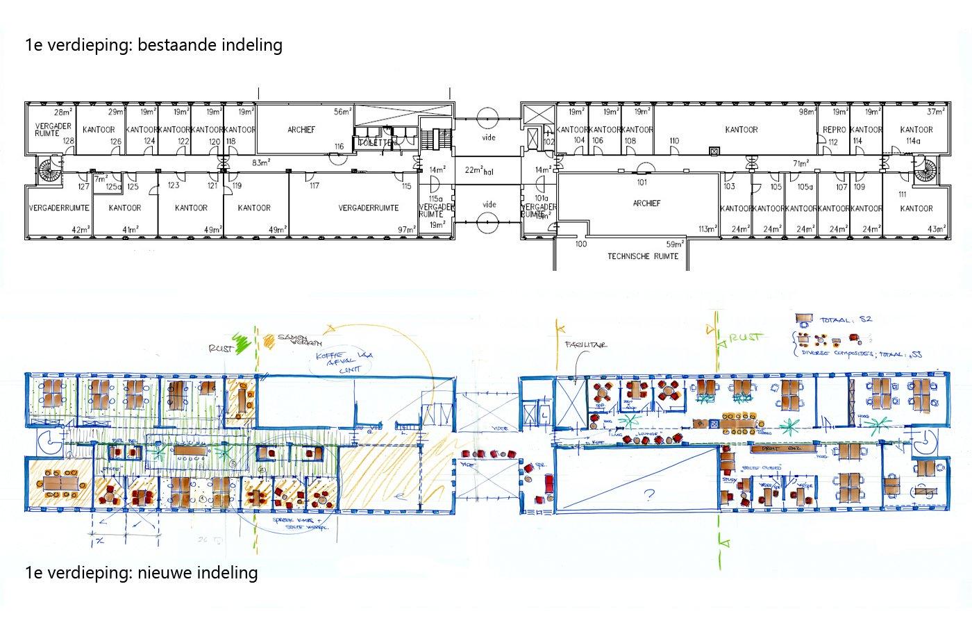 1e verdieping oud en nieuw