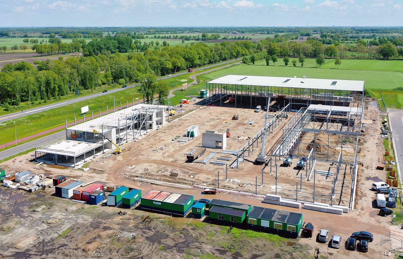 luchtfoto bouwplaats Heutink